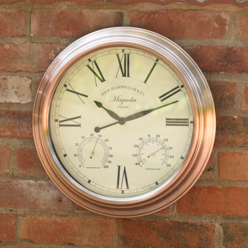 38cm / 15 inch Outdoor Garden Wall Clock, Thermometer & Humidity Meter