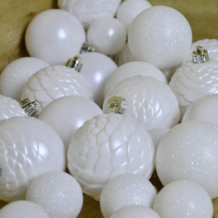 Shatterproof Winter White Baubles tube of 38 - Various sizes and designs