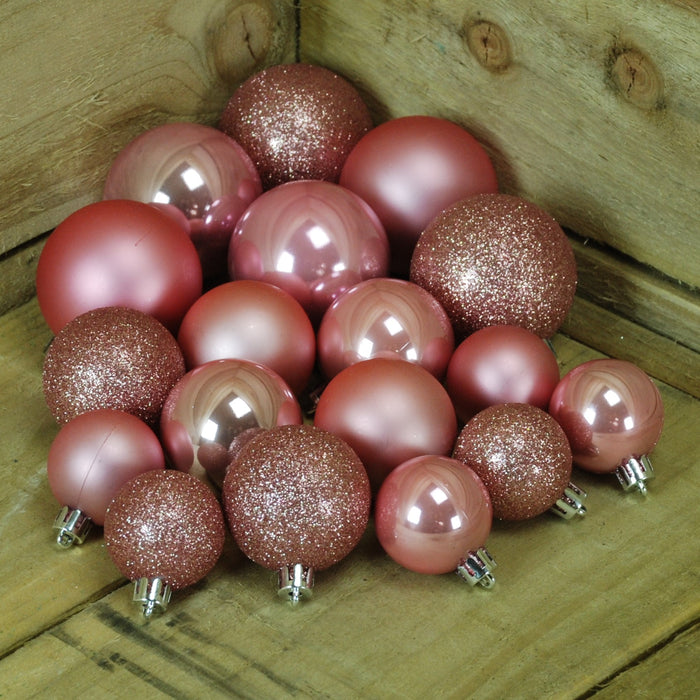 Shatter Proof Christmas Baubles in Wild Rose - Box of 30