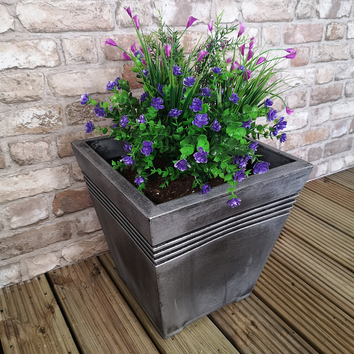 Milano Square Grey Pewter Garden Planter - 33.5cm Tall