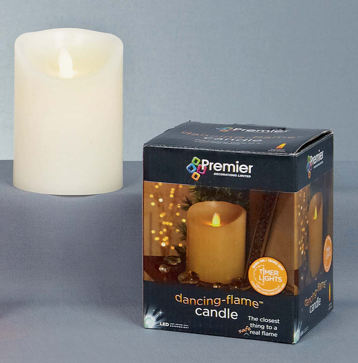 13cm, 18cm or 23cm High Battery Operated Dancing Flame Candle with Timer in Red or Cream