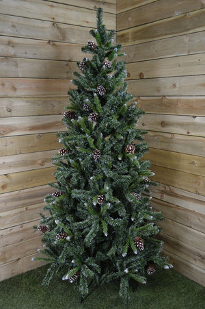 5ft, 6ft or 7ft Snow King Fir Christmas Tree with Pine Cones