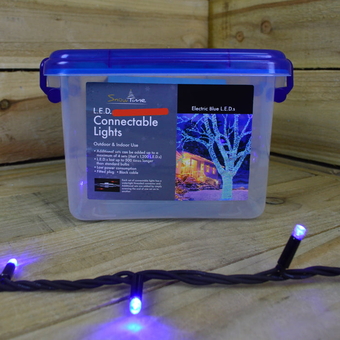 9.9m Snowtime Connectable Out/Indoor LED 100 Christmas Lights in Electric Blue