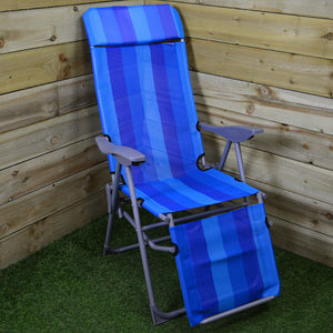 Textoline Reclining Garden Sun Chair with Foot Rest Blue or Grey