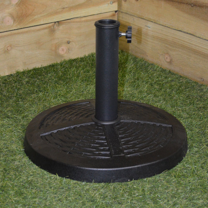 10kg 40cm Diameter Black Rattan Effect Garden Parasol Base for 35mm - 48mm