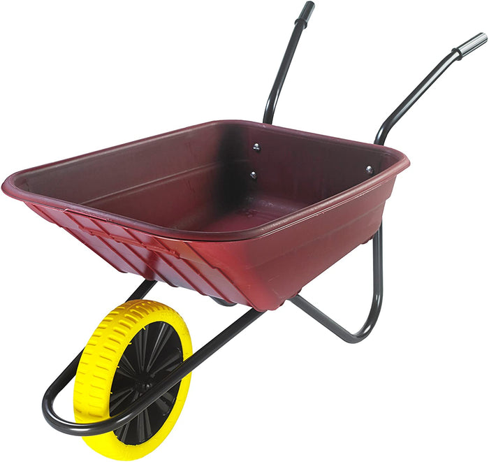 90 Litre Shire Heavy Duty Plastic Wheelbarrow – Burgundy – Puncture Proof Wheel