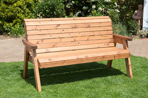 Charles Taylor Hand Made Traditional 3 Seater Chunky Rustic Wooden Garden Bench Furniture