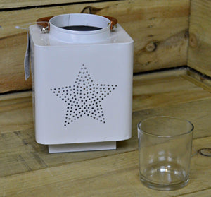Koopman 140 x 185M White Metal Star Design Lantern With Glass Candle Pot & Carry Handle - Cheaper-Online.co.uk