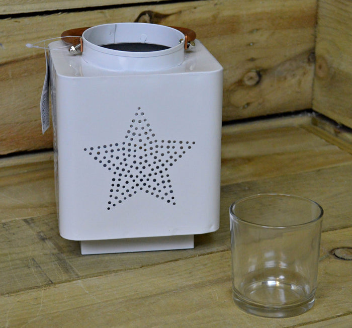 140 x 185M White Metal Star Design Lantern With Glass Candle Pot & Carry Handle