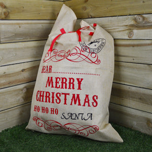 100cm Hessian Christmas Santa Git Sack with Ribbon - Design B