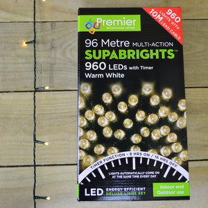 96m 960 LED Premier Multi Action SUPABRIGHT Christmas Lights Warm White & Timer