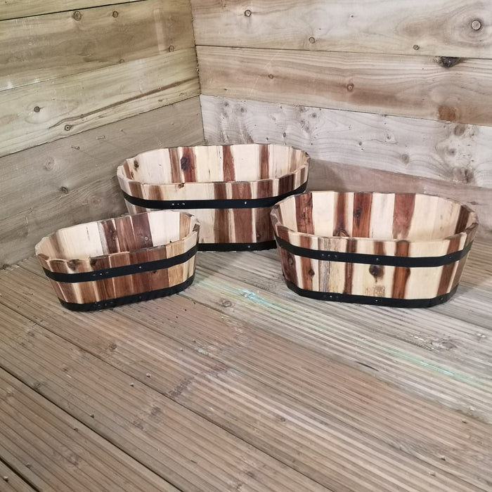 Set of 3 Tom Chambers Hand Made Applewood Trough Wood Planters - Small Medium and Large