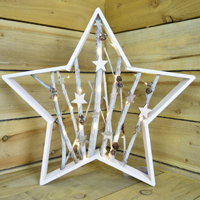 50cm Battery Operated White LED Pin Lit Christmas Festive Star With Pinecones