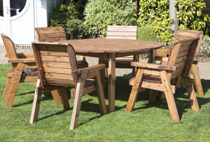 Hand Made Rustic Wooden Deluxe Six Seater Garden Furniture Circular Table Set