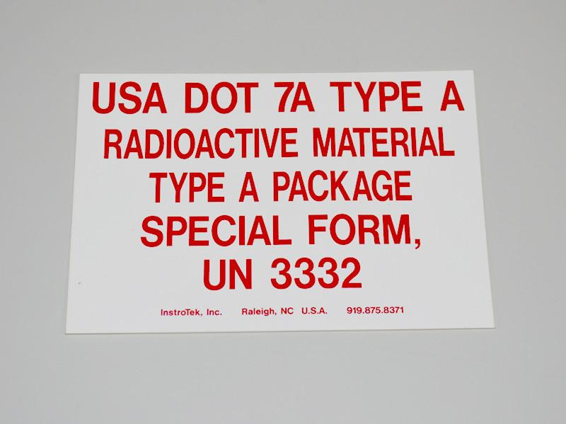 Type A Label - Non RQ for Troxler 4640 - Rainhart
