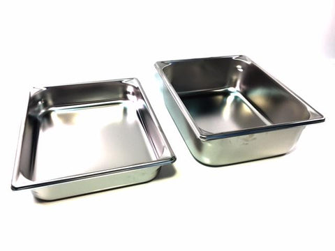 12'' x 10'' Stainless Steel Pans Available in 2 1/2'' x 4'' Depth. Please Select Size