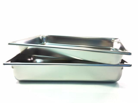 20'' x 12''  Stainless Steel Pans Available in 2 1/2'' and 4'' Depth.