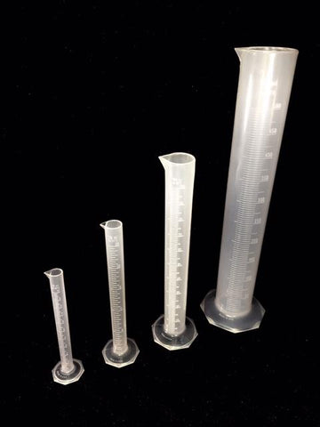 Plastic Cylinders, Graduated (Polypropylene) Available in 10ml,25ml,100ml, and 500ml Please Select Size.