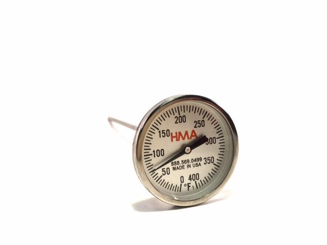 "8"" Dial Stem Thermometer, Round Glass Face 0-400°F"