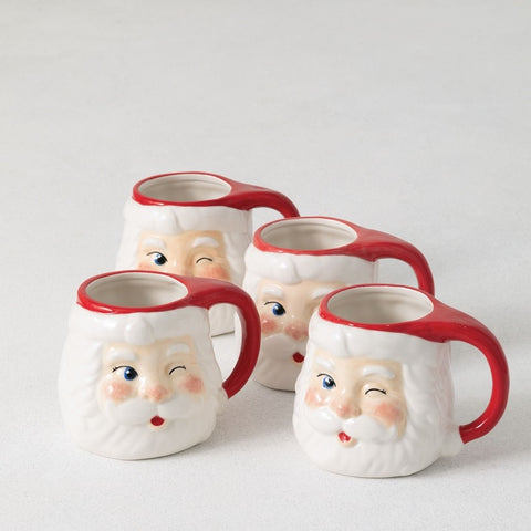 Wink Wink Santa Mugs - Set of 4