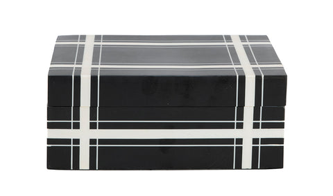 Black Cross Hatch Plaid Bone Box, SM