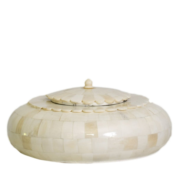 Round Lidded Bone Box, LG
