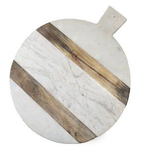 Marble & Wood Stripe Round Board XL