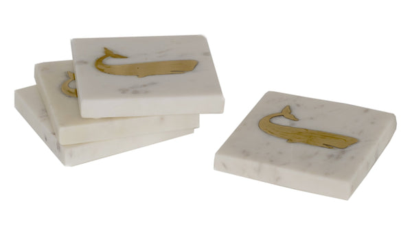 White Marble & Brass Whale Coasters