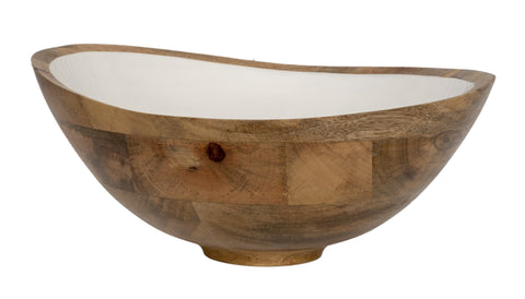 Mango Wood & White Enamel Bowl Large