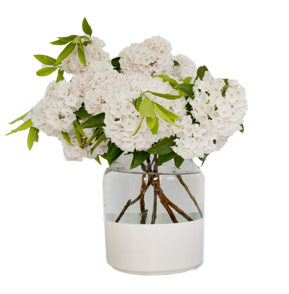 White Color Block Mason Jar Vase