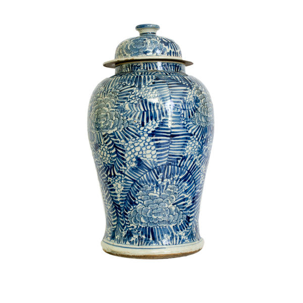 Blue and White Palm Leaf Jar