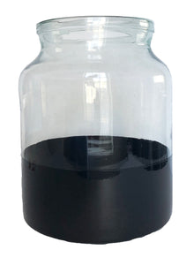 Black Color Block Mason Jar Vase, Small