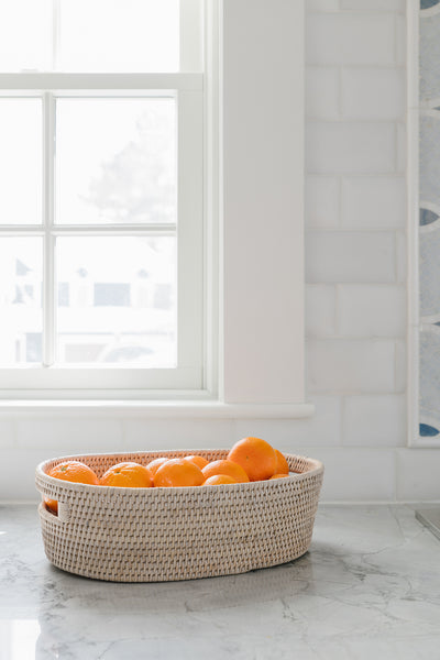 White Wash Rattan Fruit Basket