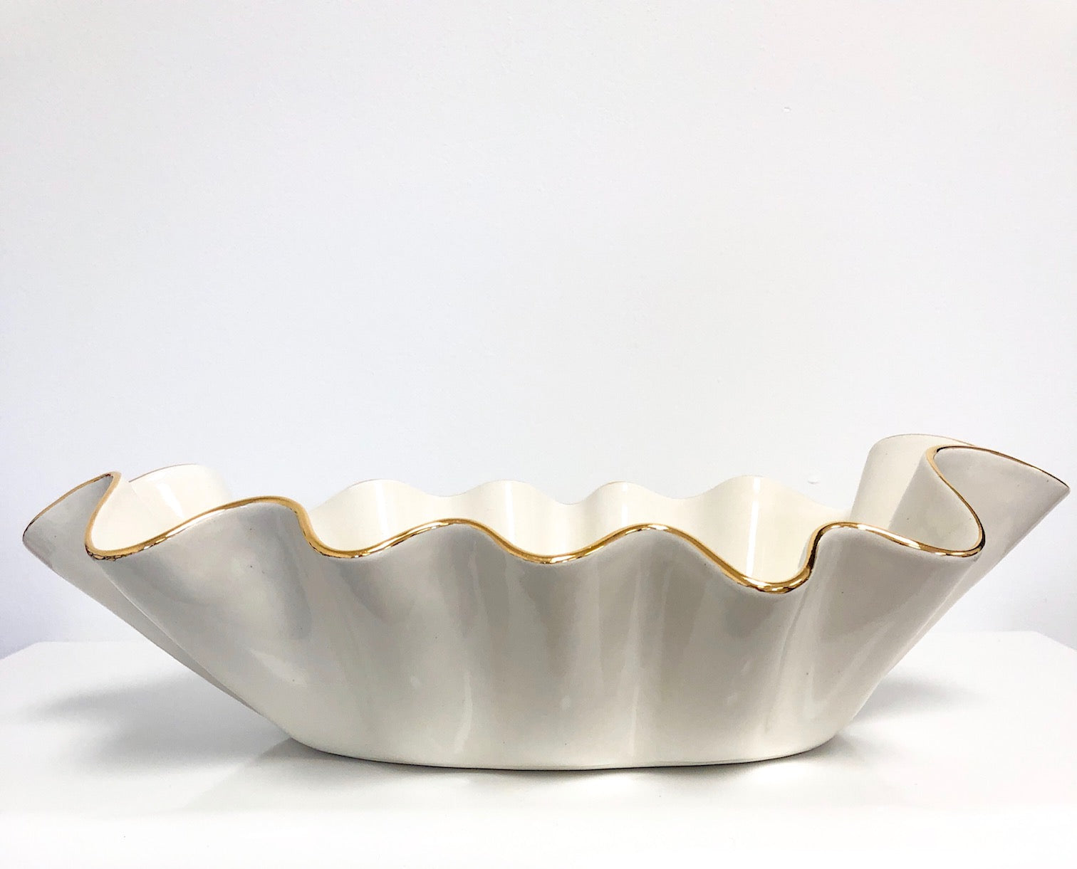 Susan Gordon Oval Ruffle Bowl White