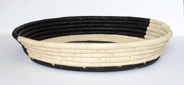 Black and Natural Color Blocked Raffia Tray