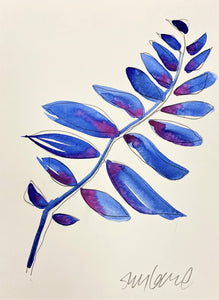 Abstract Blue and Fuchsia Leaves 31 SMALL