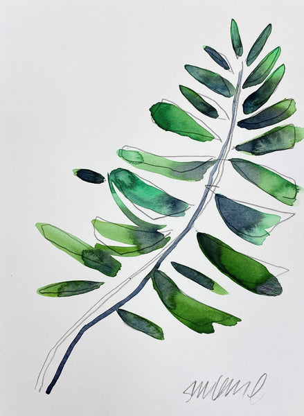 Abstract Emerald Green Leaves 40 SMALL