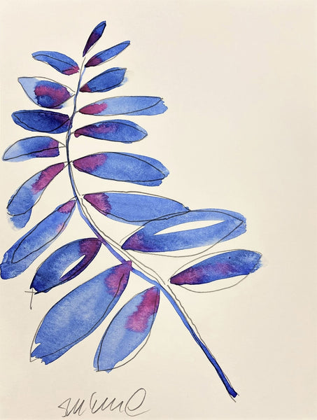 Abstract Blue and Fuchsia Leaves 32 SMALL