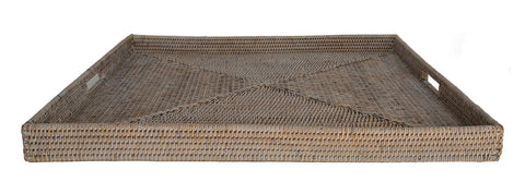 Square White Wash Rattan Tray