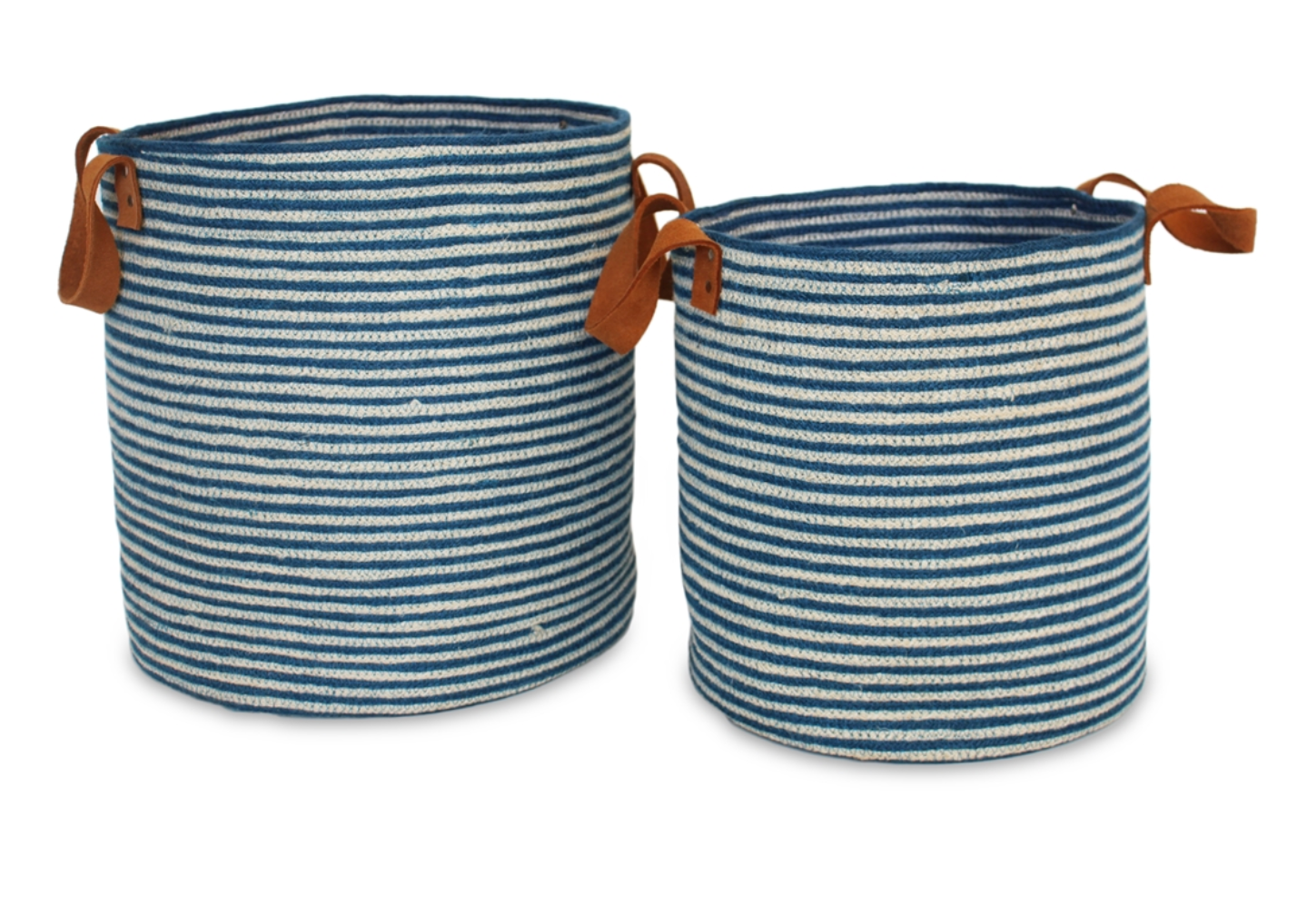 Blue and White Leather Handle Baskets, Set of 2