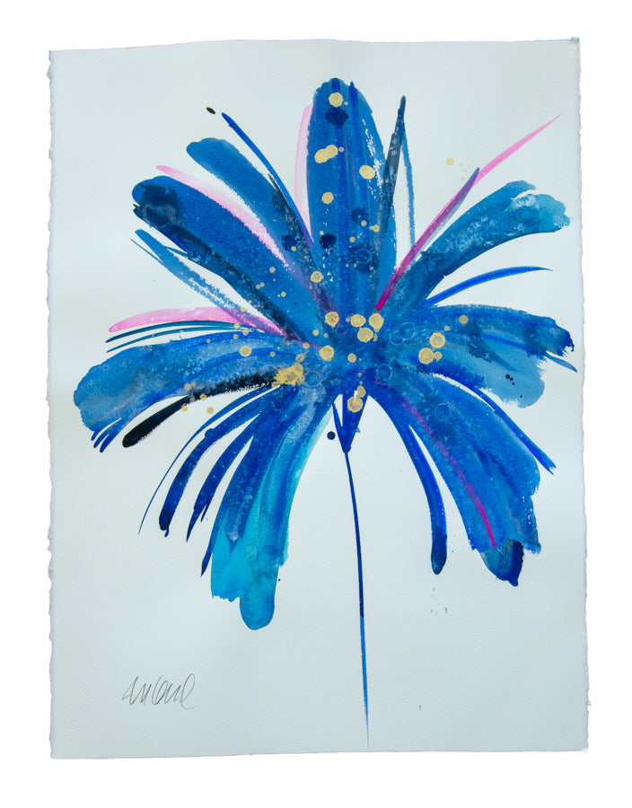 Watercolor abstract floral original art 16
