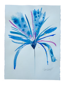 Watercolor abstract floral original art 2
