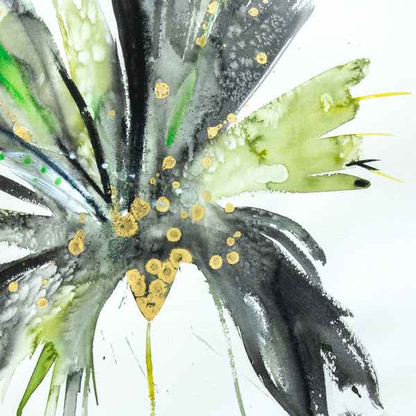 Watercolor abstract floral original art 21