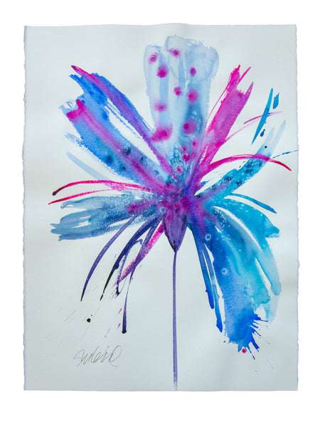 Watercolor abstract floral original art 25