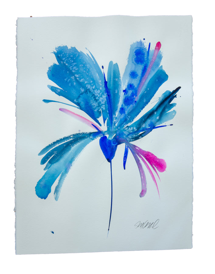 Watercolor abstract floral original art 30