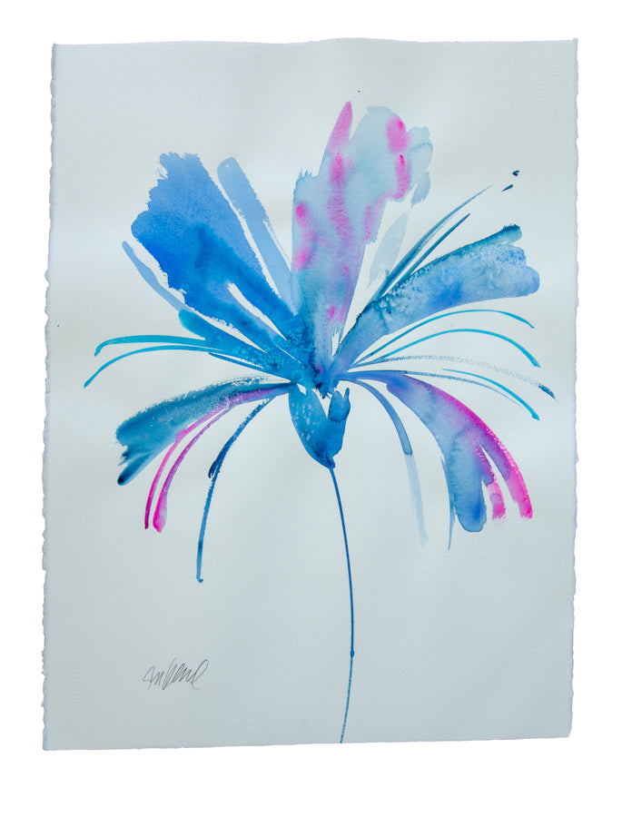 Watercolor abstract floral original art 32