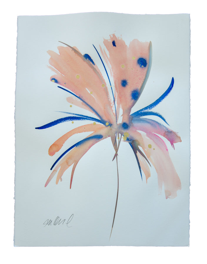 Watercolor abstract floral original art 7
