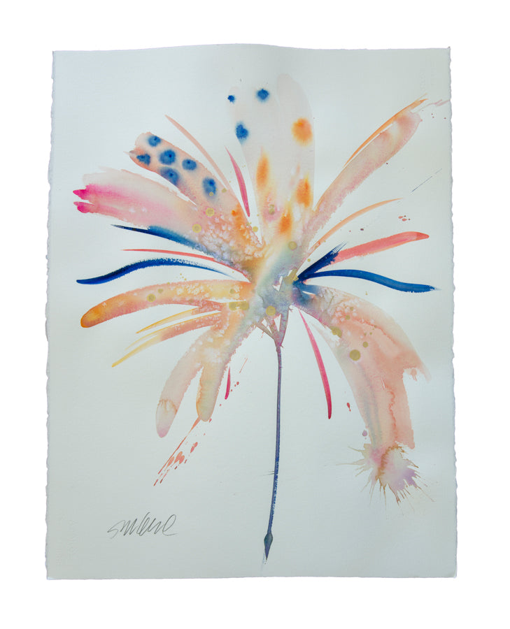 Watercolor abstract floral original art 8