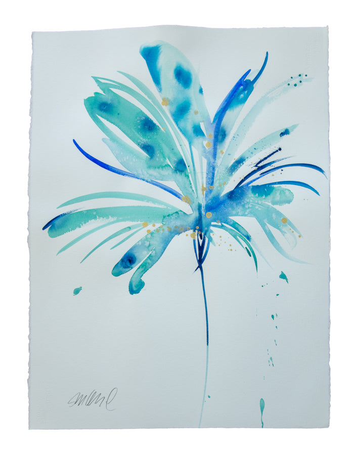 Watercolor abstract floral original art 9