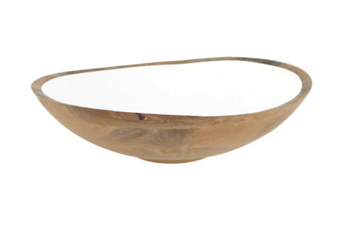 Mango Wood & White Enamel Bowl XL